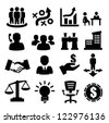 vector black business icons set on gray - stock vector