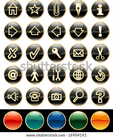 vector black buttons for web and computing