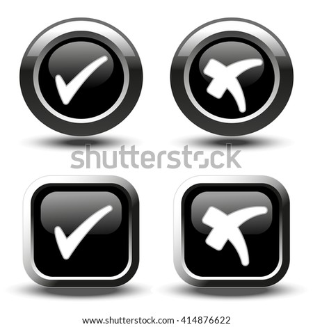 Vector black buttons with white simple check mark symbols, square and circle buttons