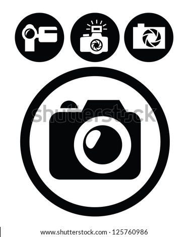 vector black camera icons set on white - stock vector