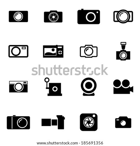 Vector black camera icons set on white background