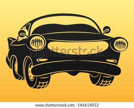 Vector. Black car sign. - stock vector