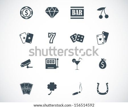 Vector black casino icons set - stock vector
