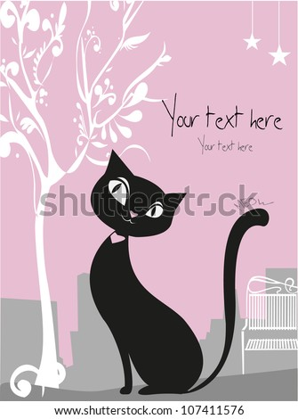 Vector black cat - stock vector