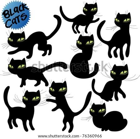 vector black cats 2 - stock vector