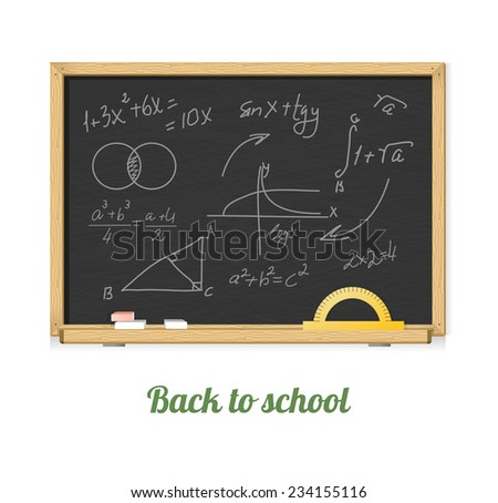 Vector black chalkboard with mathematics symbols for background - stock vector