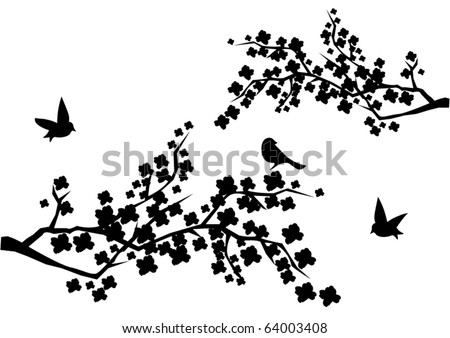 vector black cherry blossom with birds - stock vector