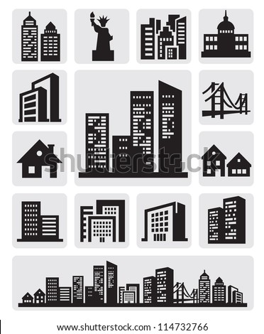 vector black cities silhouette icon set on gray - stock vector
