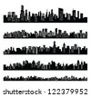 vector black city icons set on white - stock photo