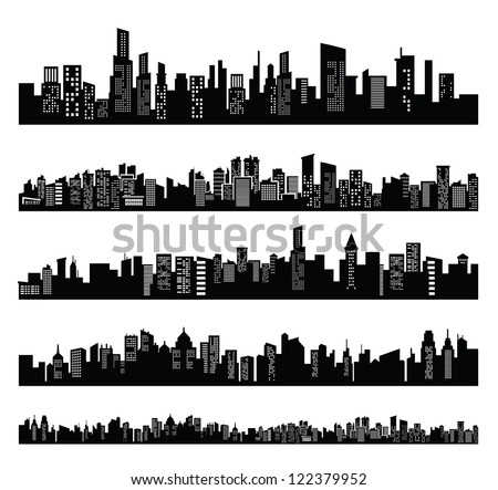 vector black city icons set on white - stock vector