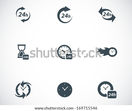 Vector black clock icons set on white background - stock vector