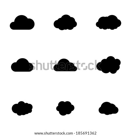 Vector black cloud icons set on white background - stock vector
