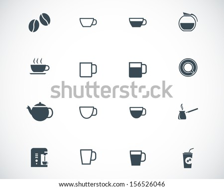 Vector black  coffe   icons set - stock vector