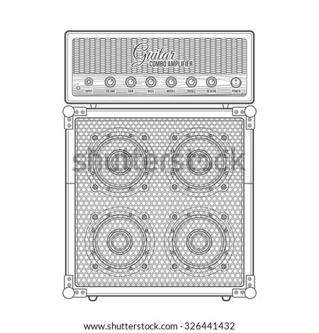 vector black color outline retro guitar combo amplifier cabinet technical illustration isolated white background - stock vector