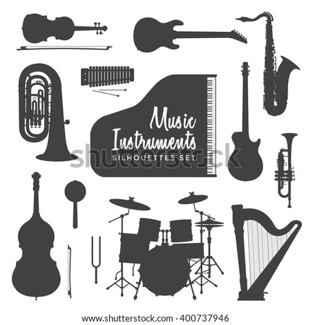 vector black color various music instruments silhouettes set isolated on white background  - stock vector