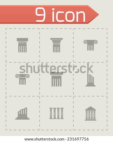 Vector black column icon set on grey background - stock vector