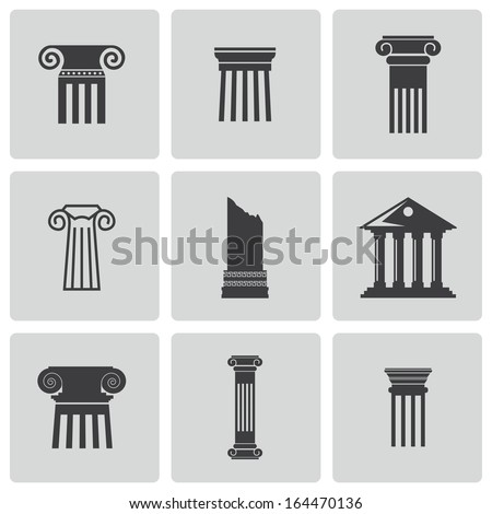 Vector black column icons set - stock vector