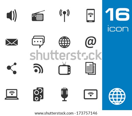 Vector black Communication and media icon on white background