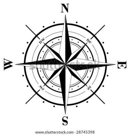 Vector - Black compass rose  isolated on white - stock vector