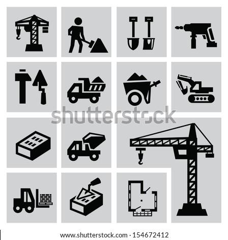vector black construction icon set on gray - stock vector