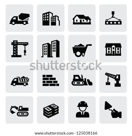 vector black construction icons set on gray - stock vector