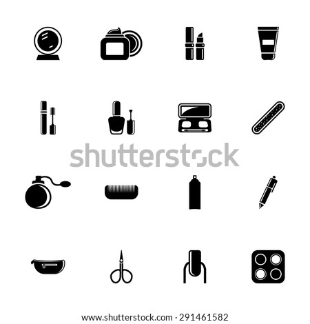 Vector black cosmetics, make-up and beauty icons set on white background