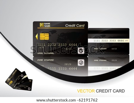 Vector Black Credit Card, front and back view - stock vector