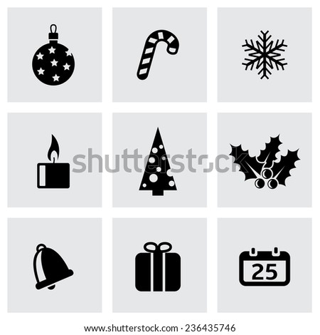 Vector black cristmas icon set on grey background