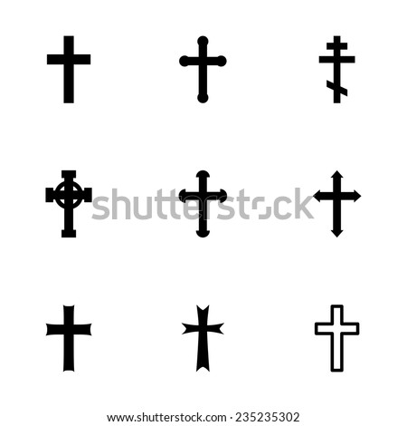 Vector black crosses icon set on white background - stock vector
