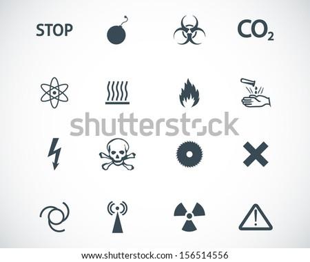 Vector black  danger icons set - stock vector