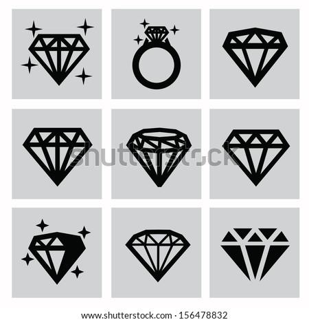 vector black diamond icons set on gray - stock vector