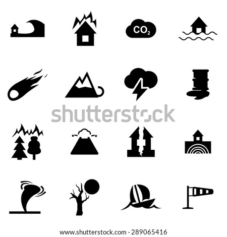 Vector black disaster icon set. Disaster Icon Object, Disaster Icon Picture, Disaster Icon Image, Disaster Icon Graphic, Disaster Icon JPG, Disaster Icon EPS, Disaster Icon AI - stock vector - stock vector