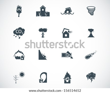 Vector black  disaster icons set - stock vector