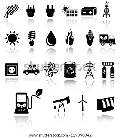 Vector black eco energy icons set on gray. Solar and wind energy. EPS10 - stock vector