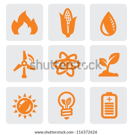 vector black ecology energy icon set on gray - stock vector