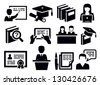 vector black education icons set on white - stock photo