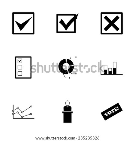 Vector black election icon set on white background - stock vector