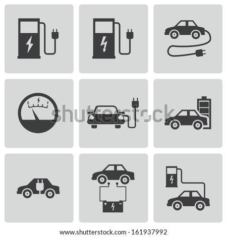 Vector black electric car icons set - stock vector