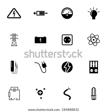 Vector black  electricity icons set on white background - stock vector