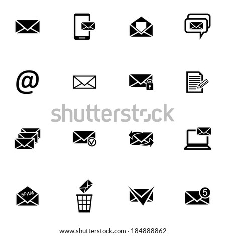 Vector black  email icons set on white background - stock vector
