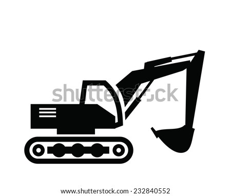 vector black Excavator icon on white background - stock vector