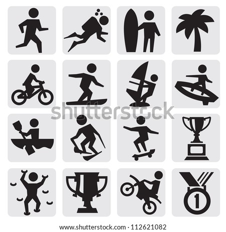 vector black extreme sports icon set on gray - stock vector