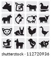 vector black farm animals icon set on gray - stock vector