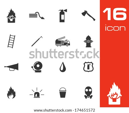 Vector black  firefighter icons set white background - stock vector