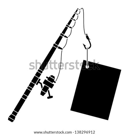 vector black fishing rod with label - stock vector