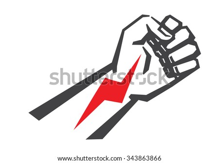 vector black Fist icon on white background - stock vector