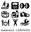 vector black fitness and sport icon set on white - stock