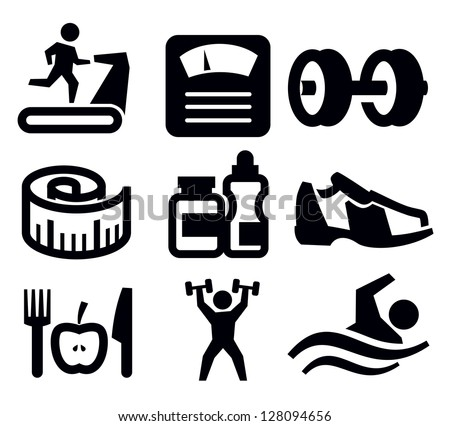 vector black fitness and sport icon set on white - stock vector