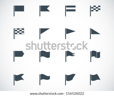 Vector black flag icons set - stock vector