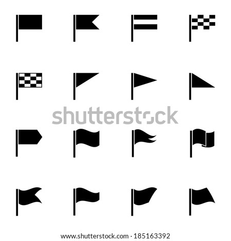 Vector black flag icons set on white background - stock vector